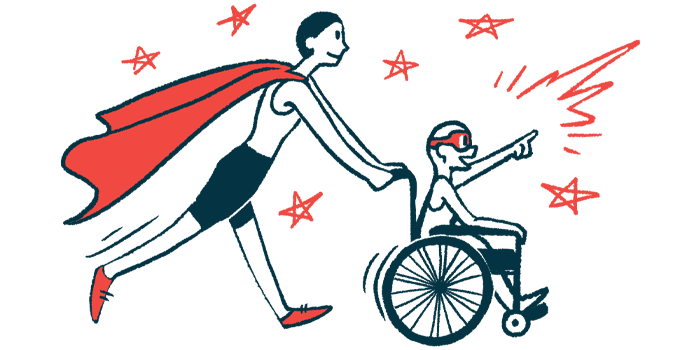 rare disease clinical trial participants   Ehlers Danlos News   Illustration of woman in cape pushing child in wheelchair